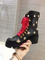 yüksek topuklu unisex toptan satış-2019 arı Tasarımcı Çizmeler platformu hakiki Lady deri Ödül Platformu kadınlar Yüksek Topuk Martin Çöl botları tasarımcı ayakkabı moda kutusu Ile