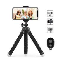 flexibles stativ für iphone großhandel-Phone Tripod Flexible und tragbare Handy-Stativ mit Fernauslöser und Universial Clip für iPhone Phone Camera