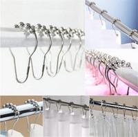 Wholesale metal shower curtain hooks wholesale - Hot sale Antirust Shower Curtain Hook Bathroom accessories Metal buckle Nickel Ball Portable bathroom hook T3I0263