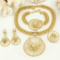 Wholesale Costume Big Necklace Sets - whole saleLiffly New Italy Fashion Costume Jewellery African Women Big Necklace Bracelet Rings Earrings Set Dubai Gold Platin Jewelry Sets