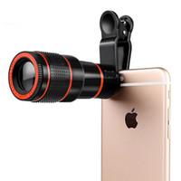 teleskop mobil für iphone großhandel-Handy Teleobjektiv 12X Zoom Optisches Teleskop Kameraobjektiv mit Clips Für iphone 4 S 5 S 6 S 7 Alle Telefon Keine Dunkle Ecke