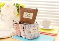 Wholesale bag cute - mini cute coin purses flower floral canvas key clutch bags wallet mixed 4 colors