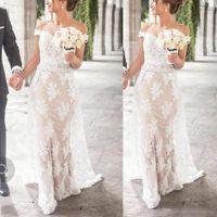 vestidos de noiva árabes venda por atacado-2018 Arab Arab Emirates Arabian Mermaid Wedding Wedding Dress Nupcial Off Appliques De Ombro Sequined Com Sash Vestidos De Casamento BA7875