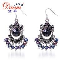 6mm perlas negras al por mayor-Daimi 5-6mm Pendientes de perlas negras Agata de agua dulce Pendientes antiguos al por mayor Joyería PrBoho