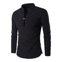 Wholesale Men Clothing Wedding - Men Wedding Shirt 2018 Fashion Stand Neck Blouse New Arrival Workout Clothing Office Blusa 2018 Solid Color Mens Shirts Tops