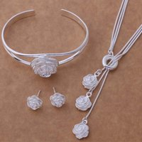 Wholesale Silver plated necklace earrings bracelet suit rose shaped jewelry three piece suit nice wedding dinner party accessories women nice gift