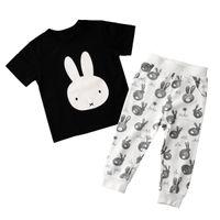 Wholesale Green Babies Organic Clothing - 2018 Brand Children 'S Clothing Short Sleeve T Shirt Pants Baby Boy Pajamas Set Cute Black White Sleepwear At Home Boys Clothing