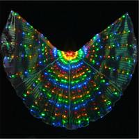 zeige bauchtanz kostüme großhandel-Bunte LED Isis Wings mit Stick Bauchtanz Zubehör Bühnen Performance Requisiten Bauchtanz leuchten LED Butterfly Wings Show Kostüm