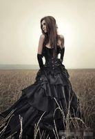 ingrosso costume sexy del vestito dal corsetto nero-Abiti da sposa neri gotici 2019 strati senza spalline sottile corsetto top gonna basca costumi di halloween abiti da sposa formato personalizzato e colore