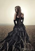 schwarzes, trägerloses korsettkleid großhandel-Schwarze gotische Hochzeits-Kleider 2019 Schichten trägerloses dünnes Korsett-Spitze-baskischer Rock-Halloween-Kostüm-Hochzeits-Kleidergewohnheits-Größe und Farbe