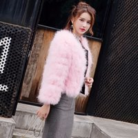 Wholesale purple feathers for hair for sale - Group buy elegant women fur coat slid ostrich feather coat for women turkey hair long sleeve lady jacket outerwear