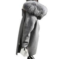 abrigo de lana de corea al por mayor-Corea Nuevas Mujeres Abrigo de Lana 2017 Otoño Abrigo de Lana Súper Abrigos Largos de Lana Abrigo Acolchado Invierno Cálido Foso