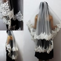 Wholesale net short dresses - In Stock Newest One Layer Lace Edge Short Wedding Veil Tulle Bridal Veil For Wedding Dress