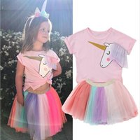 Wholesale cute baby girl clothes - Baby Girls Skirt Set with Unicorn Top T shirt Rainbow Lace Tutu Tulle Skirt Outfits Dress Set Clothes Girls summer Clothes Set KST10