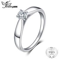 zirkonya tek taş yüzükleri toptan satış-Jewelrypalace 925 ayar gümüş 0.2ct kübik zirkon solitaire nişan yüzüğü kadınlar için yeni basit parmak yüzük trendy takı