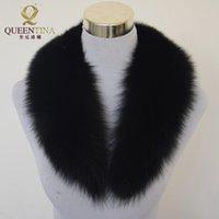 frauen fuchs pelz schals großhandel-Top Fashion Solid Black Neue Winter Schal Frauen 100% Echt Fox Pelzkragen Caps Artikel Warme Schals Schals