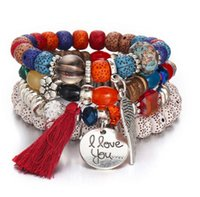 promi-stil schmuck großhandel-Neuer natürlicher Kristallopal perlen Armband Multi-Kreis Quaste Armbänder Retro-Promi-Stil Schmuck unisex kostenloser Versand