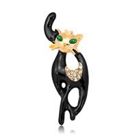 Wholesale elegant fashions coats - Long Tail Black Cat Brooches Unisex Elegant Animal Brooch Pin Fashion Jewelry Enamel Coat Broches Bijouterie 370005