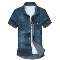 camisa de mezclilla coreana al por mayor-Camisa de manga corta sólida de los hombres calientes de la venta Hombre Casual Cómodo Estilo coreano Poliéster Turn-Down Down Camisas de mezclilla