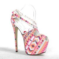 Wholesale High Heel Sandals Sexy Strappy - Womens Sequins Mixed Colors Strappy Party Stilettos Platform Super Buckle Sexy Open Toe High Heel Sandals Shoes Pumps 17CM 3Colors