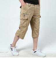 bcc7822a062 6 Summer Baggy Multi Bolsillo con cremallera de carga Pantalones cortos  Pantalones de hombre largo verde militar Khaki Mens Tactical Short Plus Size