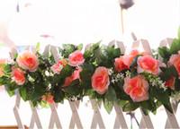 Wholesale artificial silk foliage resale online - Wedding Set Heads Pink Rose Garland Artificial Vines Decoration Silk Flowers Wedding Decor DIY Home Fake Foliage Ivy Leaf NNW