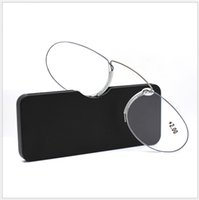 титановые очки оптовых-Без оправы Очки для чтения 1.0 до 3.5 портативный читатель бумажник с случае нос клип на мини-очки для чтения с делом