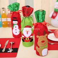 kunstpelzstrümpfe großhandel-Weinflasche Taschen Weihnachten Tischdekoration Tasche Lustige Weihnachten Neujahr Home Decor Geschenk 3 Stil Weihnachtsmann Schneemann Rentier