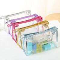 şeffaf kozmetik berrak torbalar toptan satış-Temizle Su Geçirmez Makyaj Çantaları Moda Kadınlar Şeffaf Kozmetik Çantası Seyahat Saklama Torbaları 5 Renkler 100 adet OOA5275