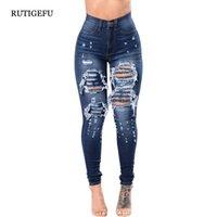 ingrosso abbigliamento di qualità per le donne di più dimensioni-Jeans a buco jeans di alta qualità a vita alta jeans abbigliamento donna 2018 autunno nuovo buco moda pantaloni denim vita Plus size