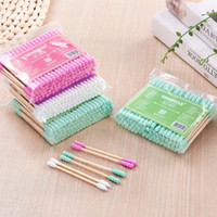 Wholesale makeup tools cotton swab online - 100pcs Set Double Head Cotton Swab Women Makeup Cotton Buds Tip For Medical Wood Sticks Nose Ears Cleaning Health Care Tools
