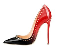 Wholesale Pointy High Heels - {Original box}Luxury Women Brand High Heels 12cm Sexy Rivets Spike Red Bottom Thin Heels Fashion Pointy Toes Pumps Shoes EU size 34--42
