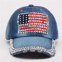 336b7d05344 New 6 colors Women Baseball Flat Cap Hats Summer American Flag Hat Cowboy  Fashion Rhinestone Denim Cap Snapbacks Hat