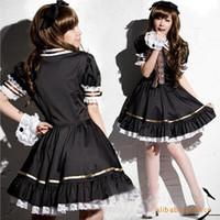 elbiseli siyah kahve toptan satış-Kadınlar Kız Japonya Anime Lolita Siyah Elbise Cosplay Kahve Hizmetçi Kostüm Flared Alt Puf Bishop Kollu