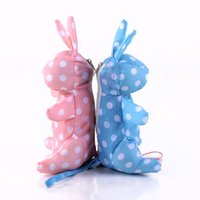 rosa kinder regenschirm großhandel-Netter kleiner Karikatur-heller kreativer 5 faltender Taschen-Regenschirm blaues rosa kleines Kaninchen scherzt Spielwaren Regen-Frauen-Strand-Sonnenschirm