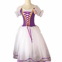 uzun kollu tutu kostümleri toptan satış-Yeni Romantik Tutu Giselle Bale Kostümleri Kız Çocuk Velet Uzun Tül Elbise Skate Balerin Elbise Puf Kollu Korosu