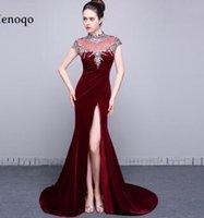ingrosso velluto porcellana-Vestidos de formatura Foto reali Sexy Abiti da sera Side Open Cap sleeve Cina Perline di lusso Velluto Mermaid Prom Dresses 2018