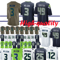 1bc12ed17 Seattle Seahawk Jerseys 49 Shaquem Griffin 20 Rashaad Penny 3 Russell Wilson  12 Fan 29 Earl Thomas 31 Kam Chancellor Jersey Adult shirt