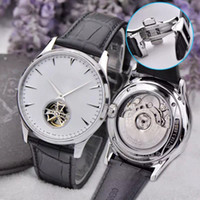 Wholesale thinnest automatic watch - Super Brand Luxury Master Ultra Thin Tourbillon White Dia 1323420 Automatic Q1323420 Men Watch Leather Strap Sport Mens Watches AAA+ 42mm