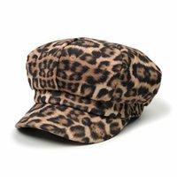 boinas para damas al por mayor-[Lakysilk] Mujer Leopardo Sombrero Invierno Mujeres Imprimir Gorras Damas Casuales Sombreros Mujer Niñas Moda Algodón Gorras de béisbol