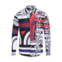 feine hemden großhandel-Neue Luxus-Designer Medusa Herren 3-D-Tiger Farbe gemischt Luxus Herren Feinschnitt Baumwollhemd Herren bedruckt Casual Business-Shirt-56