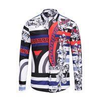 negócio de tigres venda por atacado-Nova designer de luxo homens de Medusa 3-D Tigre cor misturada homens de luxo camisa de algodão dos homens de ajuste fino impresso casual business-shirt 56