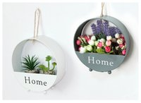 Wholesale Wholesale Metal Hook Wall Hangers - Storage Holders Organizer Creative Flower basket House Wall Decor Wooden Home Products Sundries Jewelry Box Wall Hanger Decoration in stock