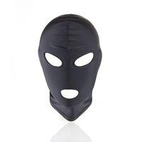bdsm siyah toptan satış-Seksi PU Deri Lateks Hood Siyah Maske 4 tyles için Nefes Başlık Başlığı Fetiş BDSM Yetişkin parti