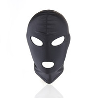 seksi lateks maskeleri toptan satış-Sexy PU Leather Latex Hood Black Mask 4 tyles Breathable Headpiece Fetish BDSM Adult for party