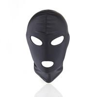 schwarze latexhaubenmaske großhandel-Sexy pu-leder latex haube schwarze maske 4 tyles atmungsaktive kopfschmuck fetisch bdsm erwachsene für party