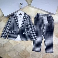 Wholesale polyester outerwear - Top quality Weddings boys suit Clothes Classic lattices handsome Kids Clothing Set outerwear+pants