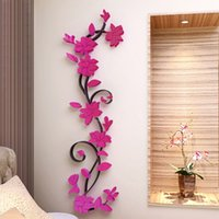 розовые цветы оптовых-Colorful 3D Flower Removable DIY Rose Stickers Decal Mural Home Room Decors  Quote Wall Sticker