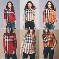 Wholesale super popular online - 2018 new BBR and rainbow plaid shirt with long sleeve ins super popular shirt women han fan clothes