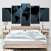 ingrosso mappe di pitture a olio-Dipinti ad olio HD Tela pittura per soggiorno parete moderna Decor immagine 5 pezzi astratta mappa del mondo Home Wall Art Decor